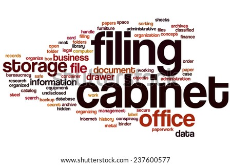Filing cabinet word cloud concept - stock photo