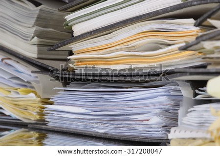 filing folders side - stock photo
