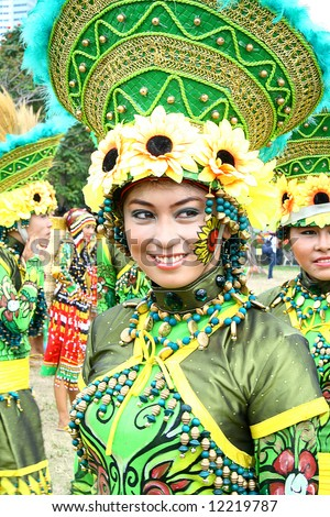 filipina girl participating in Philippine street parade - stock photo