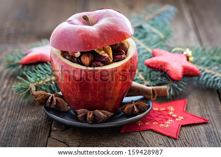 filled apple for christmas  - stock photo