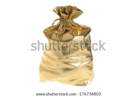 Filled gold sack isolated on white background - stock photo