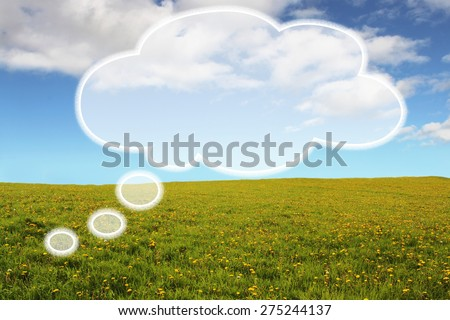 Filled Thought Bubble on Bright and Positive Background - stock photo