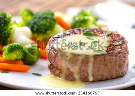Fillet of beef with b���©arnaise sauce. - stock photo