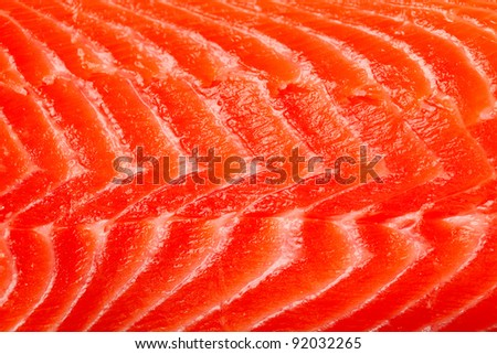 Fillet of red fish, a trout, a salmon - stock photo