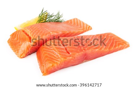 Fillet of salmon isolated on white background - stock photo