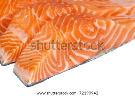 Fillet of salmon on a white background - stock photo