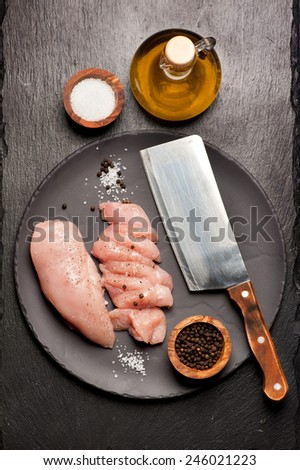 fillet raw chicken - stock photo