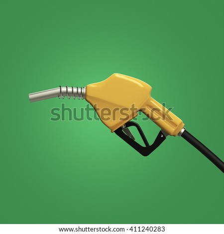 filling gun. gas refueling nozzle, gasoline pump 3d render isolated - stock photo