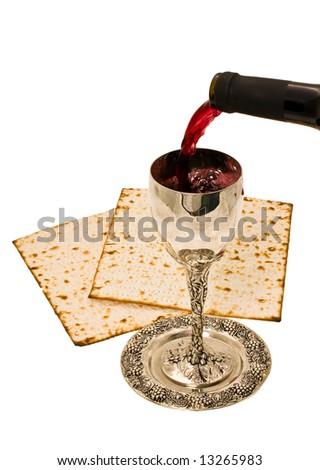 filling ritual wine cup in the Sabbath - stock photo