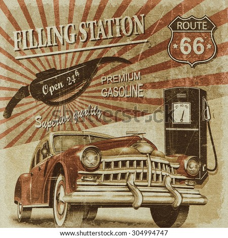 Filling station retro poster - stock photo