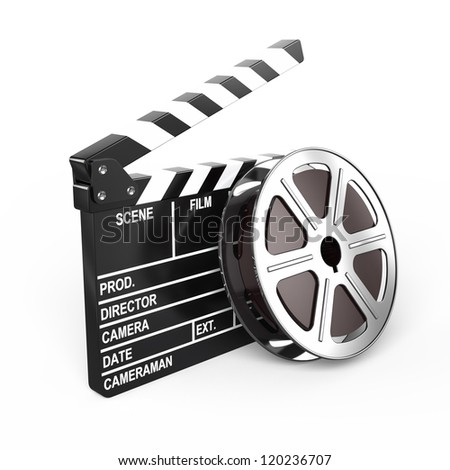 Film and clap board - video icon - stock photo