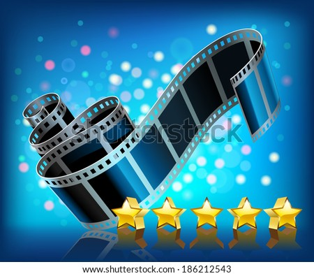 Film and stars on blue background. - stock photo