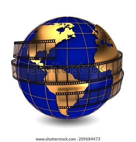 film around the earth symbolizes the film industry - stock photo