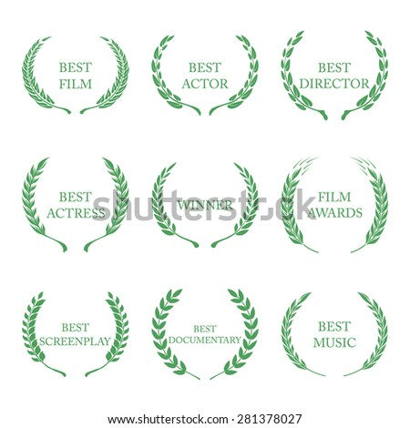 Film Awards, award wreaths on white background  - stock photo