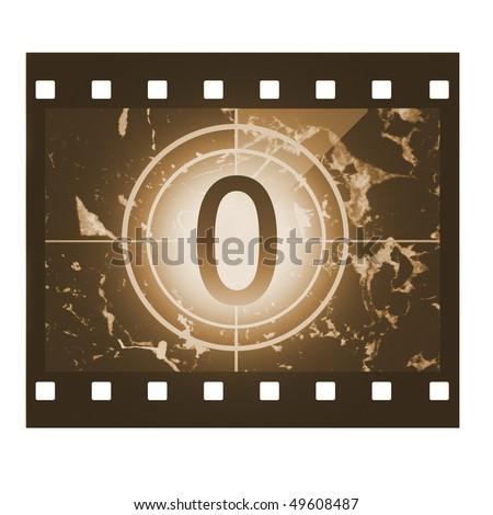 Film countdown in sepia design at No 0 - stock photo