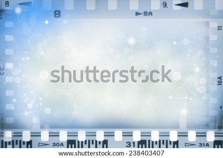 Film negatives and stars, copy space  - stock photo