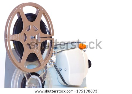Film projection ; Old 8 mm home movie projector,isolated on white background,photography - stock photo