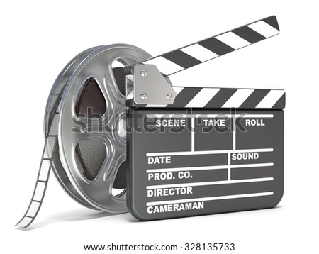 Film reel and movie clapper board. Video icon. 3D render illustration isolated on white background - stock photo