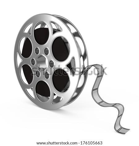 Film reel on a white background - stock photo