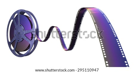 Film reel strip (clipping path and isolated on white)  - stock photo