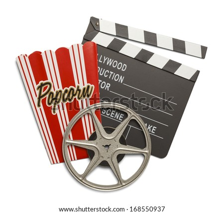 Film Reel with Clap Board and Popcorn Box Isolated on White Background. - stock photo