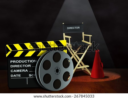 Film reel with clapper board and director chair - stock photo