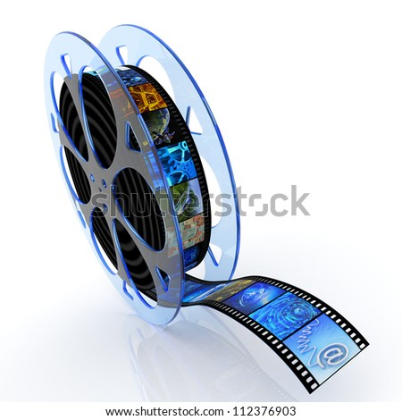 Film reel with images - stock photo
