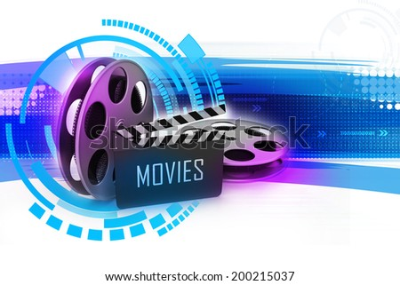 Film Reels and Clapper board - stock photo
