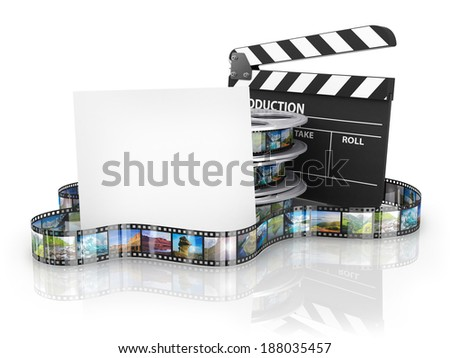 Film Reels and Clapper board and cardboard - stock photo