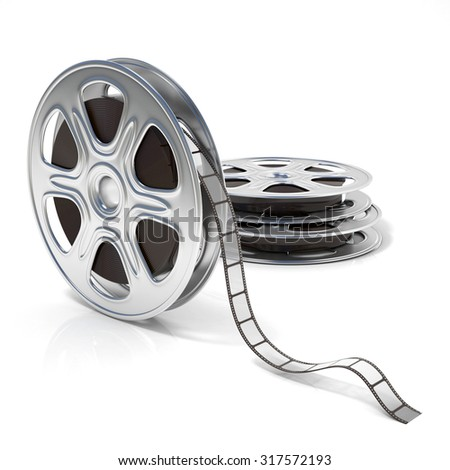 Film reels. Video icon. 3D render illustration isolated on white background - stock photo