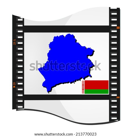 Film shots with a national map of Belarus - stock photo