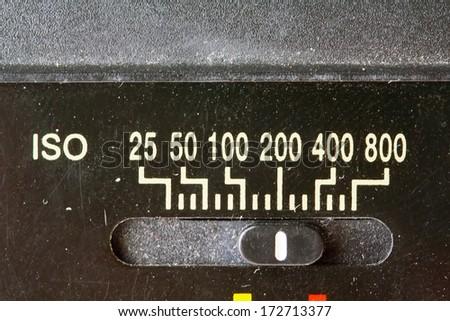 Film Speed Rating Setting On Camera Flash - stock photo