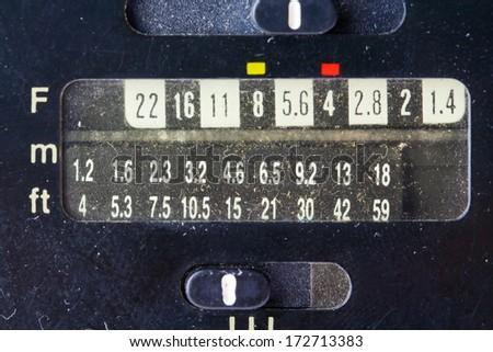 Film Speed Rating Setting On Retro Camera Flash - stock photo