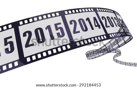 film strip new year (clipping path and isolated on white) - stock photo