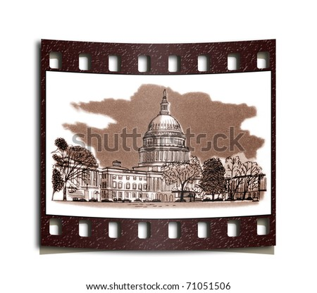film strip United States Capitol is the location for the Congress of the United States - stock photo