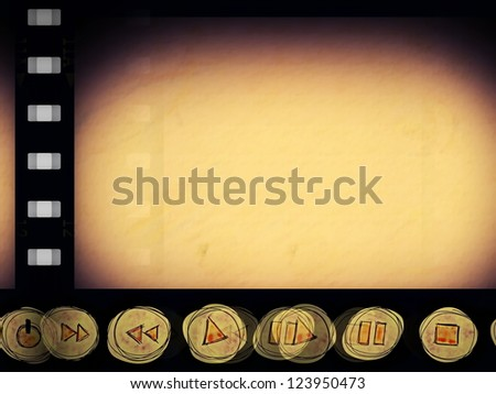 film strip with doodle multimedia control  elements background, texture, - stock photo
