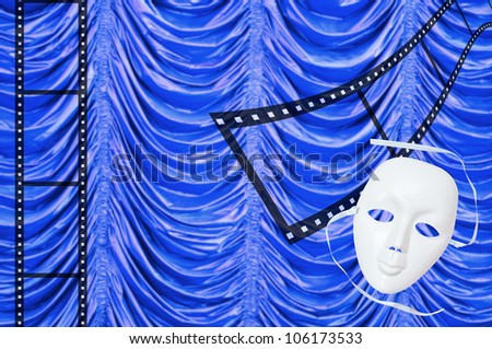 Film with concept with white drama masks - stock photo