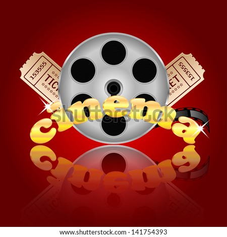 film with popcorn and a drink on a red  background. - stock photo