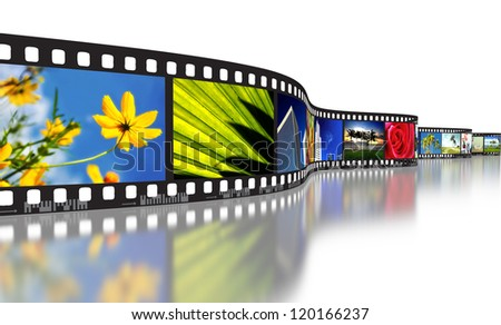 Filmstrip concept for illustrating photography, digital imaging or cinematography - stock photo