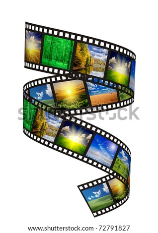 filmstrip on the white backgrounds - stock photo