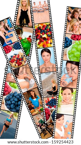 Filmstrip style montage of interracial female women working out at a gym, active exercising and enjoying a healthy lifestyle, and healthy eating fresh fruit and food - stock photo