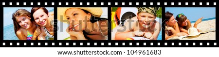 filmstrip with pictures of smiling holiday people having vacation - stock photo