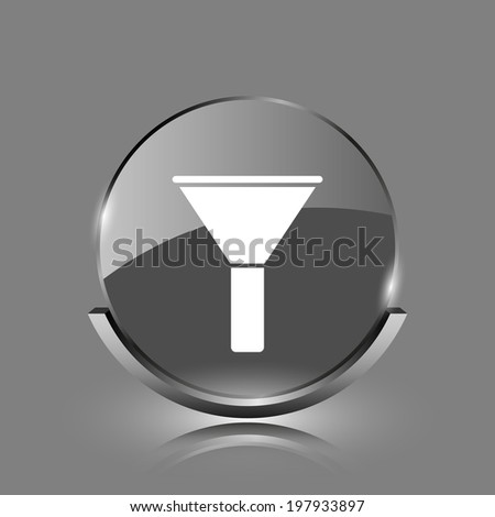 Filter icon. Shiny glossy internet button on grey background.  - stock photo