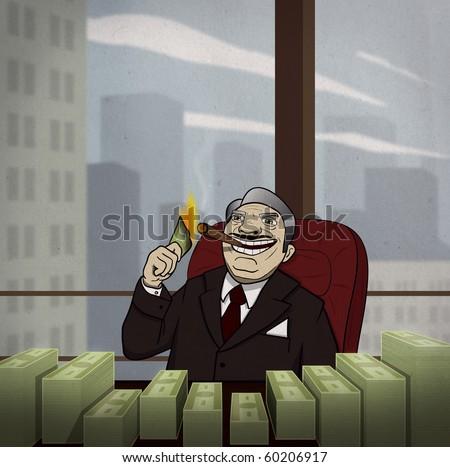 Filthy rich man is enjoying money - stock photo