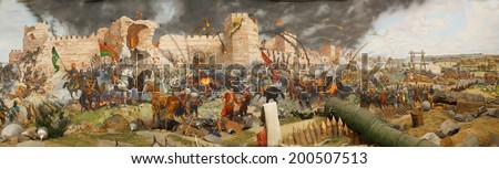 Final assault and the fall of Constantinople in 1453. Captured by Mehmet. Diorama in Askeri Museum, Istanbul,  Turkey  - stock photo
