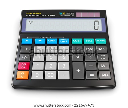 Finance, accounting, tax and corporate success concept: black modern office business financial digital electronic calculator with statistics functions and dual solar power isolated on white background - stock photo