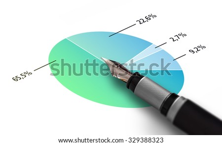Finance analysis concept, a chart with a pen. - stock photo