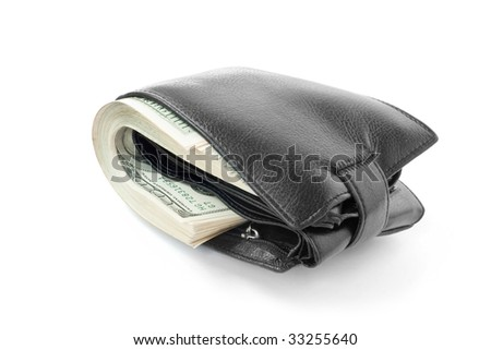 finance and business concept. money in black wallet - stock photo