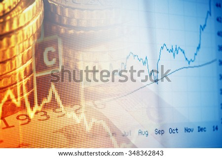 Finance background with chart and coins. Business concept. - stock photo