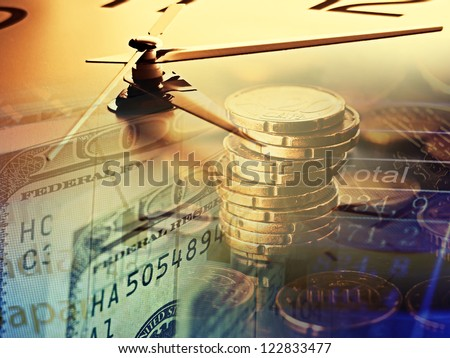 Finance background with clock face and money. - stock photo